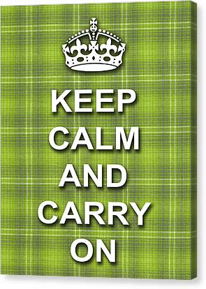 Keep Calm And Carry On Poster Print Green Plaid Background Canvas Print by Keith Webber Jr