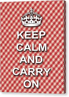 Keep Calm And Carry On Poster Print Red White Background Canvas Print by Keith Webber Jr