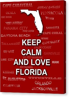 Keep Calm And Love Florida State Map City Typography Canvas Print by Keith Webber Jr