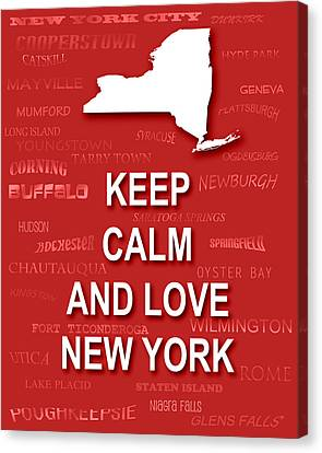 Keep Calm And Love New York State Map City Typography Canvas Print by Keith Webber Jr