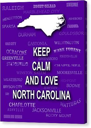 Keep Calm And Love North Carolina State Map City Typography Canvas Print by Keith Webber Jr
