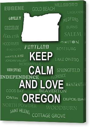 Keep Calm And Love Oregon State Map City Typography Canvas Print by Keith Webber Jr
