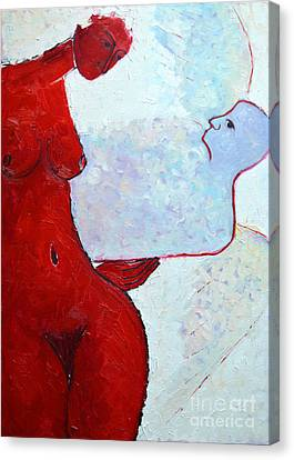 Keeping Her Guardian Angel In Her Hand Canvas Print by Ana Maria Edulescu
