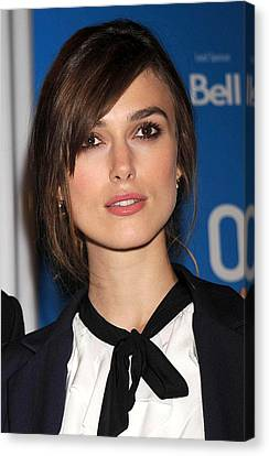 Keira Knightley At The Press Conference Canvas Print