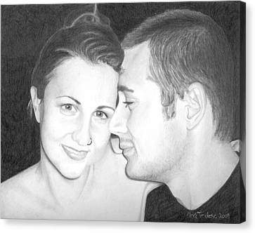 Canvas Print featuring the drawing Kelly And Chris Lanktree by Ana Tirolese