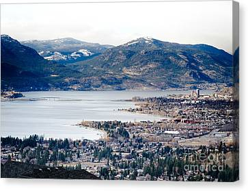 Kelowna Winter View Across The Lake And Bridge Canvas Print by Andy Smy