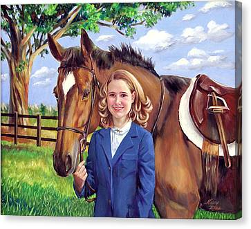 Canvas Print featuring the painting Kendall And Her Horse by Nancy Tilles