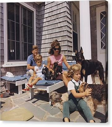 Kennedy Family And Their Many Dogs Canvas Print by Everett