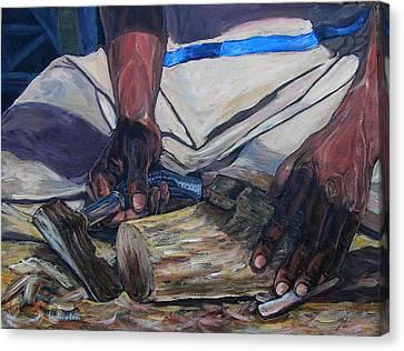 Kenny's Hands Canvas Print by Li Newton