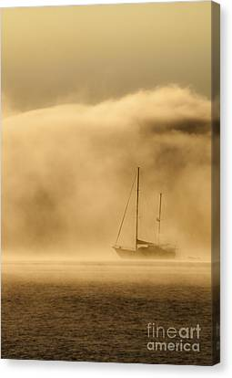 Ketch In Mist Canvas Print by Avalon Fine Art Photography