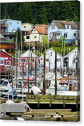 Ketchakan Alaska Marina Canvas Print by Mindy Newman