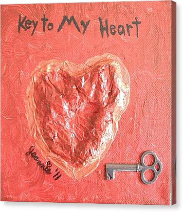 Key To My Heart Canvas Print by Jeannie Atwater Jordan Allen