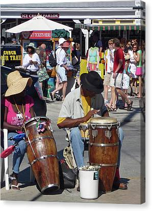 Canvas Print featuring the photograph Key West Street Musicians by Helen Haw