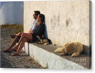 Kicking Back In Greece Canvas Print by Bob Christopher