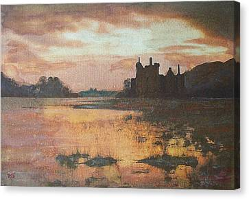 Canvas Print featuring the painting Kilchurn Castle Scotland by Richard James Digance