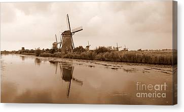 Kinderdijk In Sepia Canvas Print by Carol Groenen