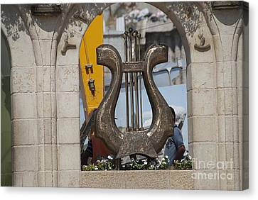 Statue Of David Canvas Print - King David's Harp by Avi Horovitz