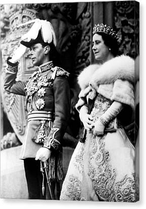 King George Vi, Queen Elizabeth Canvas Print by Everett