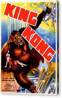 Horror Fantasy Movies Canvas Print - King Kong, King Kong Holding Fay Wray by Everett