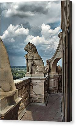 Gargoyle Lions Canvas Print - King Of The Beasts In The Land Of The Braves by Farol Tomson