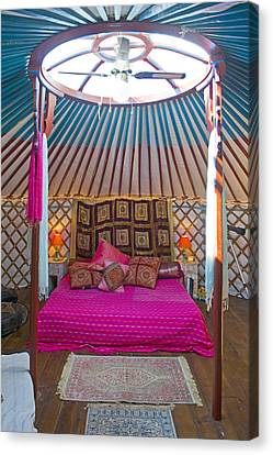 King Size Bed In A Mongolian Yurt Canvas Print
