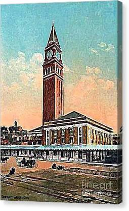 King St. Railroad Station In Seattle Wa In 1910 Canvas Print by Dwight Goss