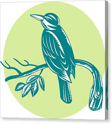 Kingfisher Perching On Branch Woodcut Canvas Print by Aloysius Patrimonio