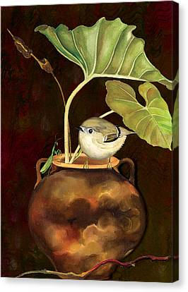 Canvas Print featuring the painting Kinglet And Friend by Anne Beverley-Stamps