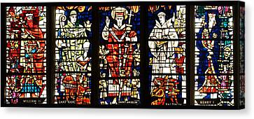Kings And Holy Men Medieval Stained Glass Collage Canvas Print by Lisa Knechtel
