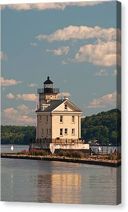 Canvas Print featuring the photograph Kingston Rondout Lighthouse by Nancy De Flon