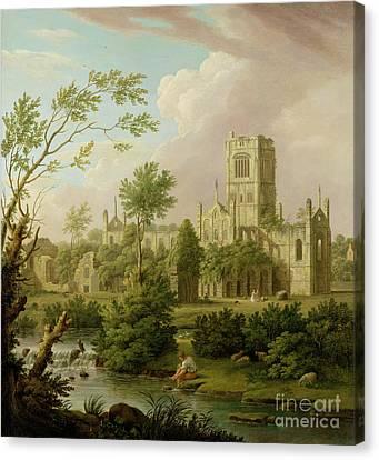 Kirkstall Abbey - Yorkshire Canvas Print by George Lambert