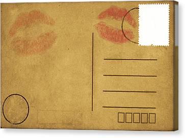 Kiss Lips On Postcard Canvas Print by Setsiri Silapasuwanchai