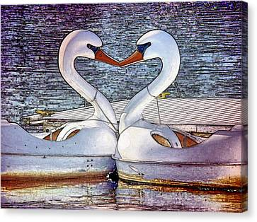 Canvas Print featuring the photograph Kissing Swans by Alice Gipson