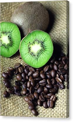 Kitchen Pictures Coffee Beans Kivi Canvas Print by Falko Follert