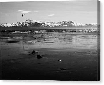 Kite Surfer On An Alaskan Beach Canvas Print