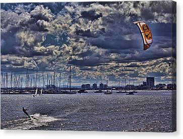 Kite Surfing At St Kilda Beach Canvas Print by Douglas Barnard