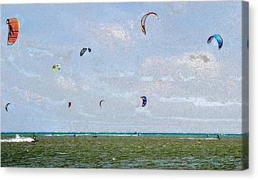 Kites Over The Bay Canvas Print by David Lee Thompson