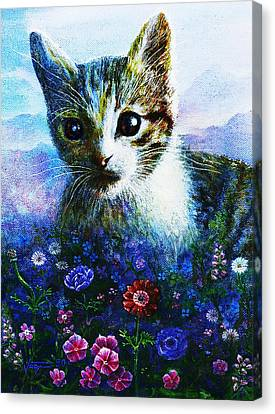 Canvas Print featuring the mixed media Kitten by Hartmut Jager