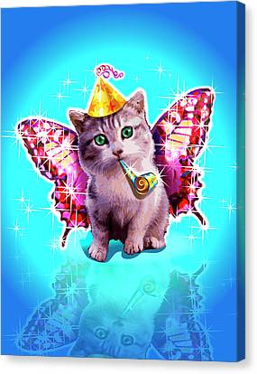 Kitten With Party Horn Blower, Party Hat And Wings Canvas Print