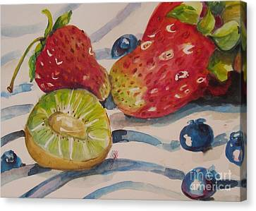 Kiwi And Berries Canvas Print by Delilah  Smith