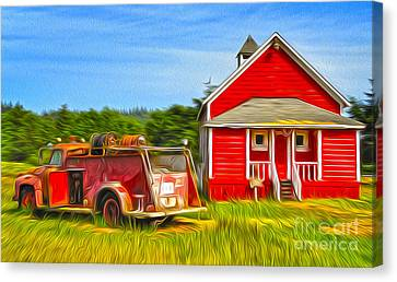Klamath Old Fire Truck And Red School House Canvas Print
