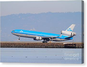 Klm Canvas Print - Klm Royal Dutch Airlines Jet Airplane At San Francisco International Airport Sfo . 7d12157 by Wingsdomain Art and Photography