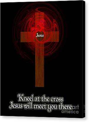 Kneel At The Cross Canvas Print by Methune Hively
