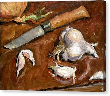 Knife And Garlic Canvas Print by Thor Wickstrom