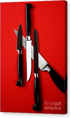 Stainless Steel Canvas Print - Knives On Red by HD Connelly