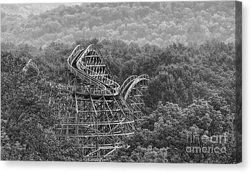 Knobels Wooden Roller Coaster Black And White Canvas Print by Paul Ward