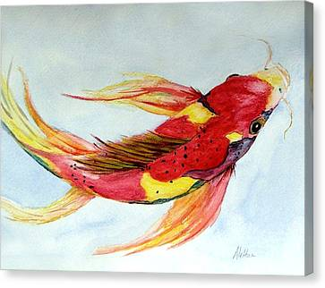 Canvas Print featuring the painting Koi by Alethea McKee