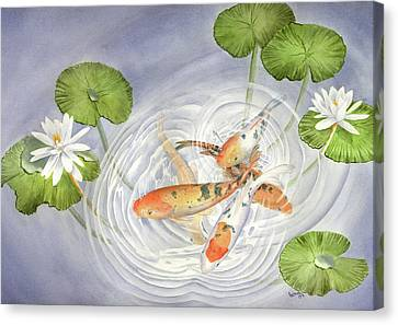 Koi In Lily Pond Canvas Print by Leona Jones
