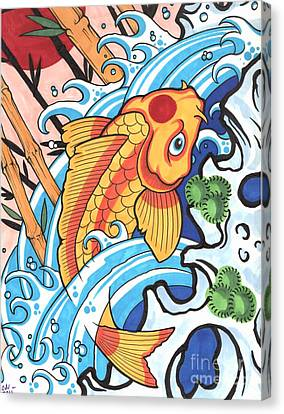 Koi Canvas Print by Lon Bennett