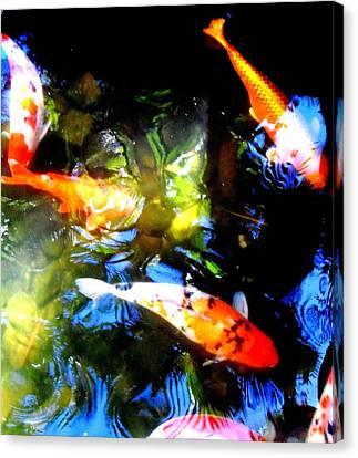 Fish Pond Canvas Print - Koi Story Three A by Randall Weidner